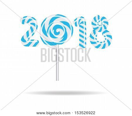 New Year 2018 in shape of candy stick isolated on white.Vector illustration