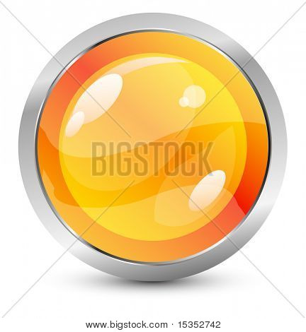 Vector orange button with metal stroke