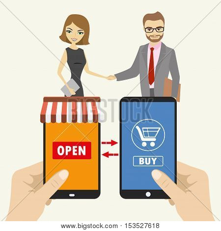 One hand holds a smartphone shop the other hand holding a smart phone with icon shopping E-commerce on smart gadgets and businessmen shake hands flat design