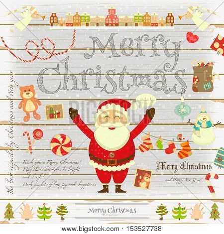 Christmas Poster in Retro Style on White Wooden Background. Santa Claus and Xmas Symbols on Vintage Greeting Card. Vector Illustration.