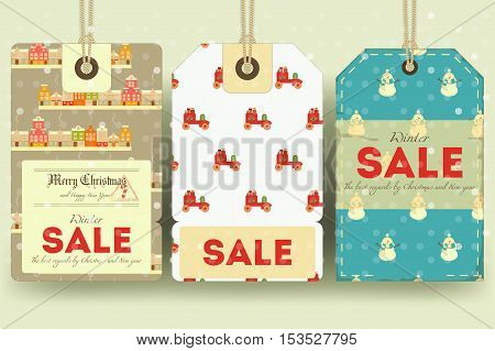 Christmas and New Year Sale Tags Set in Retro Style with Xmas Symbols. Winter Sell-out Labels Collection. Vector Illustration.