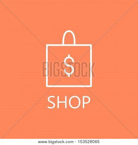 Shopping bag,vector illustration. Web shopping line icon. High quality outline pictigram for design website or mobile app. Vector thin line illustration of shopping bag.