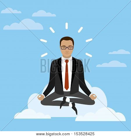 Businessman is meditating and relaxing with cloud computing in lotus poseVector illustration