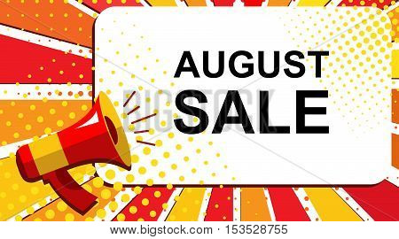 Megaphone With August Sale Announcement. Flat Style Pop Art Illustration