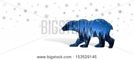 Silhouette of bear. Inside christmas trees and snowflakes. Vector illustration