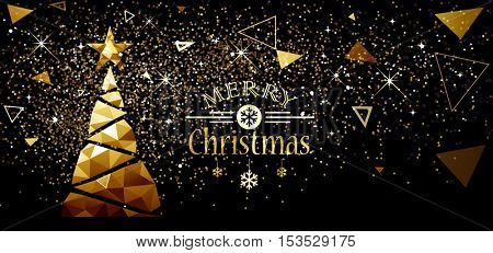 Christmas and New Year Design with Gold Tree and Stars. Vector Low Poly illustration