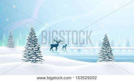Christmas card with reindeer and northern lights. Vector illustration