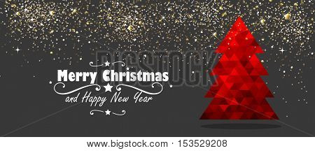 Christmas and New Year Design with Red Tree and Stars. Vector illustration