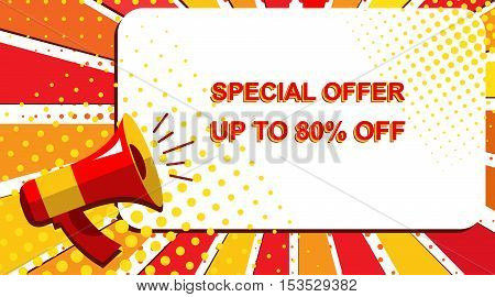 Megaphone With Special Offer Up To 80 Percent Off Announcement. Flat Style Pop Art Illustration