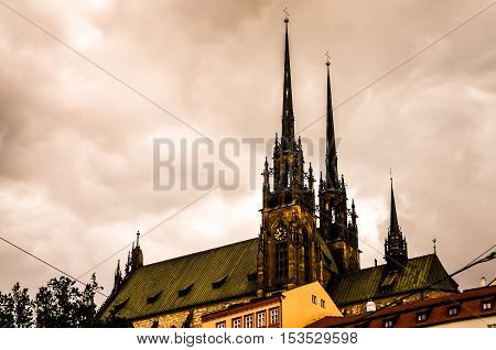 old gothic church during stormy weather in brno czech republic