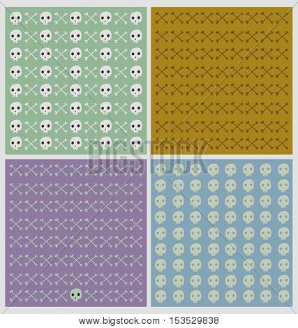Set of skull and cross bones patterns in light pastel colors