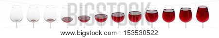 Collage of a glass that is filled with bordeaux wine - isolated in white