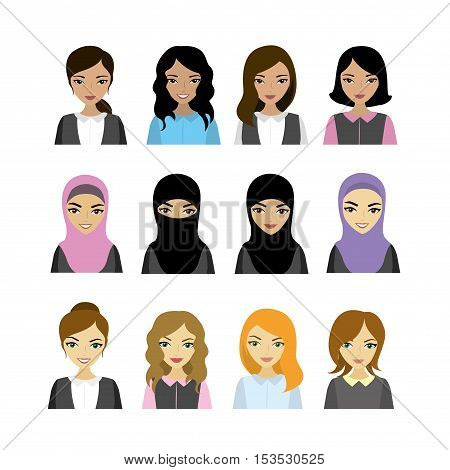 Set female faces of different races vector illustration
