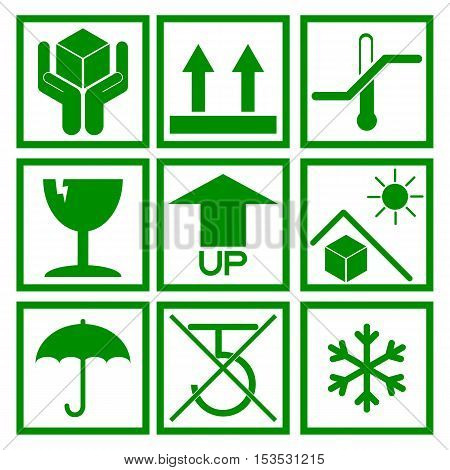 Set of green packaging symbol (side up handle with care fragile no hook beware sunlight etc.)