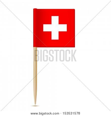 Swiss flag. Flag toothpick Switzerland 10eps