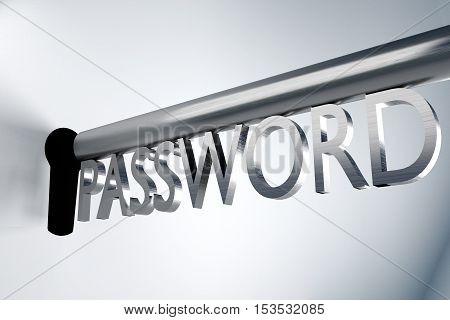 metal key password lock keyhole secure 3D Illustration