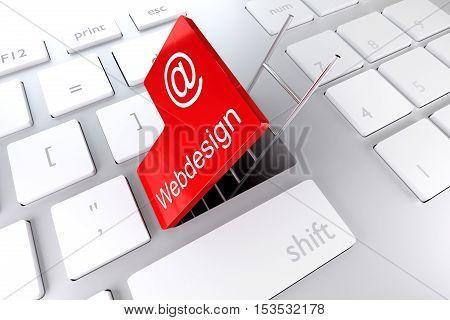 red enter key ladder underpass webdesign 3D Illustration