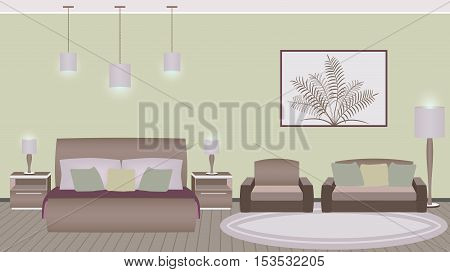 Classic style hotel bedroom interior with furniture. Vector illustration