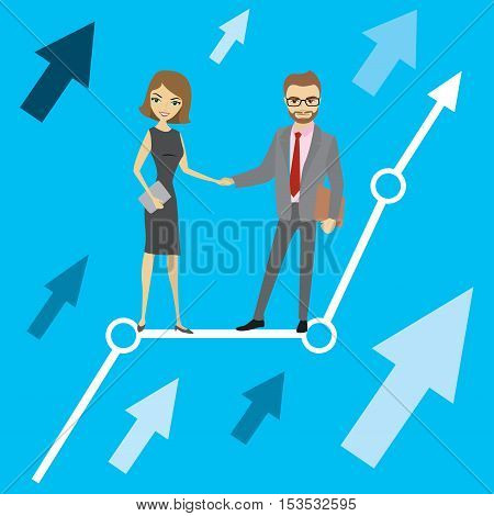 growth chart and businessman and business woman vector illustration.
