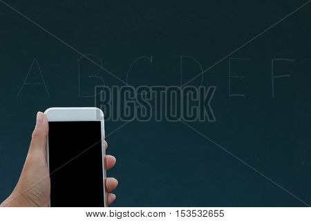 Hand Holding Phone Black Clipping Inside On Black Board