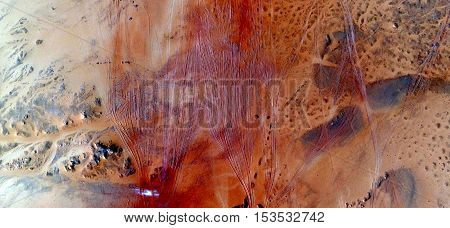 red wind, Abstract photography of landscapes of deserts of Africa from the air