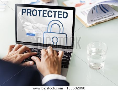 Protected Log In User Password Register Concept