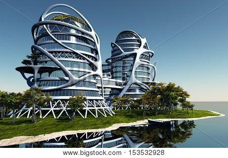 Modern building on the grass.,3d render
