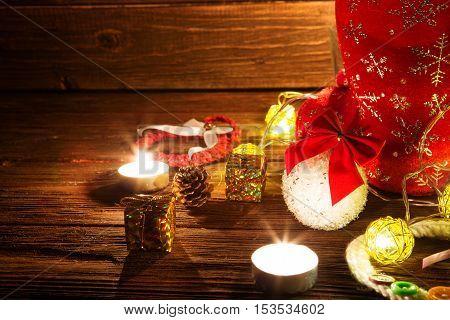Lantern With Candles, Christmas Decor.