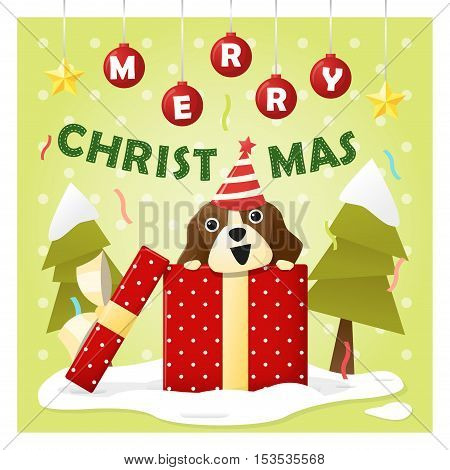Merry Christmas Greeting Card with dog inside gift box , vector , illustration