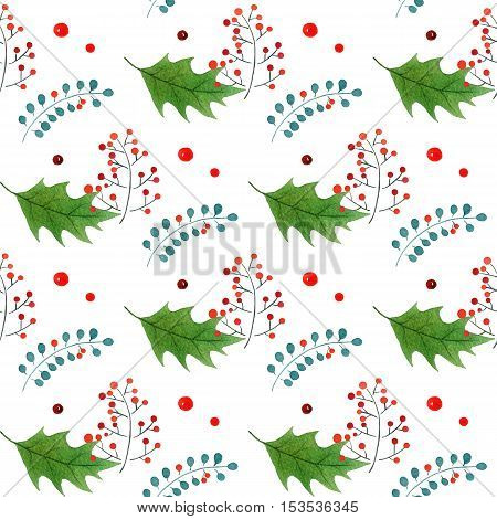 vintage seamless Christmas pattern with branches and holly berries.