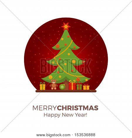 Christmas room interior in colorful cartoon flat style. Christmas tree, gifts, decoration. Cozy noel xmas night celebration interior vector illustration