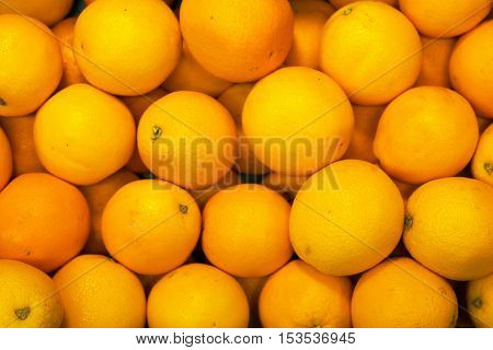 Lots of bright oranges in supermarket. Close-up view