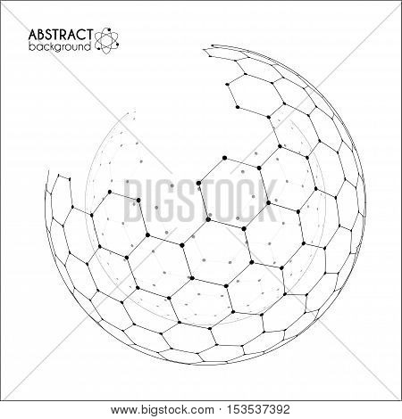 Physics and chemical science concept with hexagonal grid vector spheres on white background