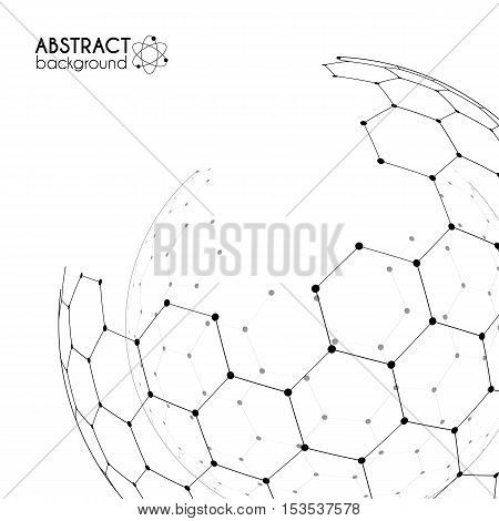 Physics and chemistry science concept with hexagonal grid vector spheres
