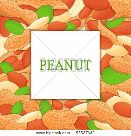 The square colored frame composed of peanut nut. Vector card illustration. Nuts frame, groundnut fruit in the shell, whole, shelled, leaves appetizing looking for packaging design of healthy food