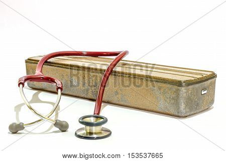 pressure box with stethoscope.conceptual photo of medicine and health.