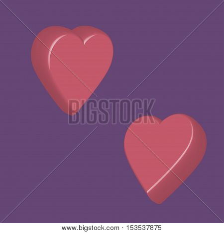 Two nice sweet 3d hearts with mauve background