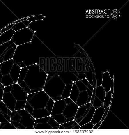 Vector hexagonal carbon grid broken sphere isolated on black background