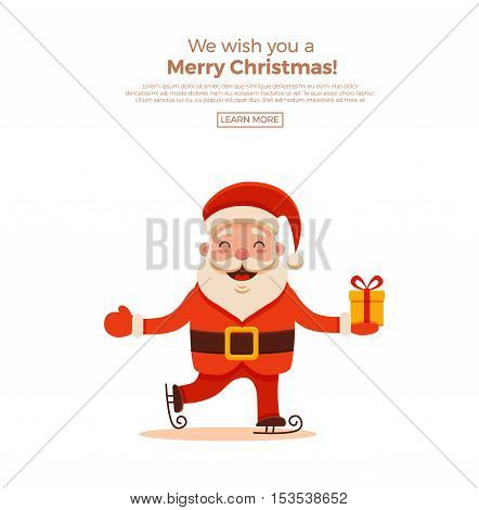 Cartoon Santa Claus for Your Christmas and New Year greeting Design or Animation. Vector isolated illustration of happy Santa Claus skating with gift box in colorful flat style