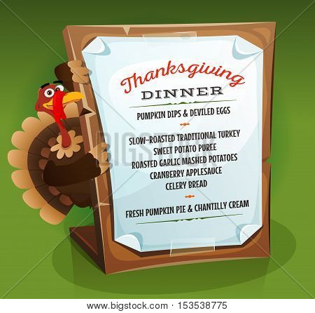 Illustration of a cartoon turkey character holding wood sign with dinner menu and recipe example for traditional thanksgiving holidays on green background