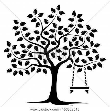 vector tree with swing isolated on white background