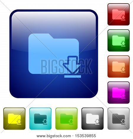 Download folder color glass rounded square button set