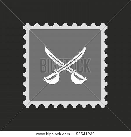 Isolated Mail Stamp Icon With  Two Swords Crossed