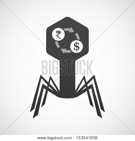 Isolated Virus Icon With  A Rupee And Dollar Exchange Sign