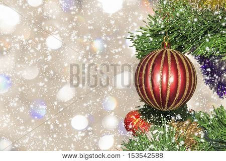 Christmas-tree decoration close up. Christmas picture (card)