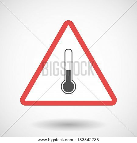 Isolated Warning Sign Icon With  A Thermometer Icon