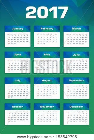 Vector New Year Calendar 2017 Sunday First