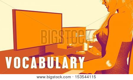Vocabulary Concept Course with Woman Looking at Computer 3d Illustration Render