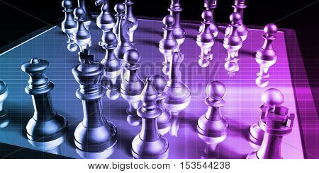 Business Tactics and Chess Game Analysis Concept Art 3d Illustration Render