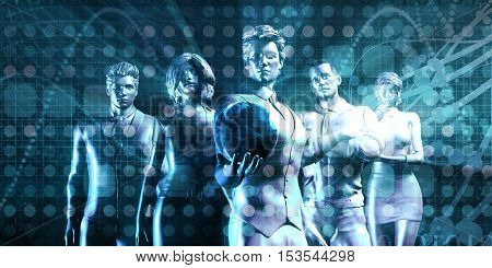 Global Company Team with Business People and Globe 3d Illustration Render